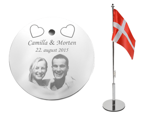 Bordflag som bryllupsgave med forskudt stage