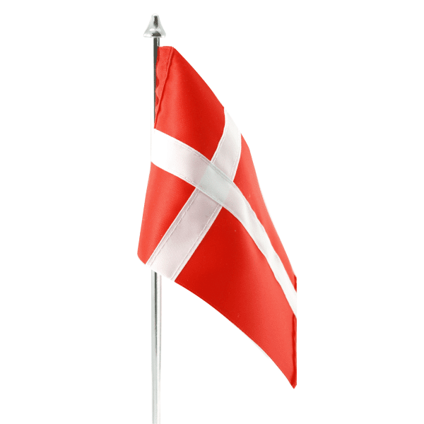 Rødt Dannebrogsflag - dansk flag - til bordflag fra Memozz
