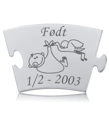 Født - Memozz Classic Mindebrik - Stork med baby i næbbet