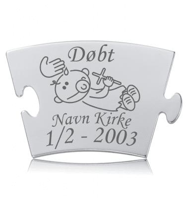 Døbt - Model Puzle - Memozz Classic Mindebrik - Graveret mindebrik med Puzle der døbes