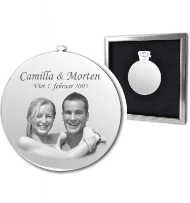 Memozz Classic Par med foto - Smuk graveret gave til brudeparret - Sølvsort ramme