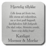 Memozz Citatplade - Hjertelig tillykke - Graveret stålplade med digt