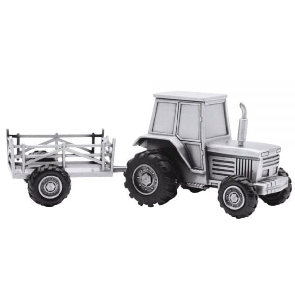 Sparebøsse traktor med vogn i fortinnet overflade