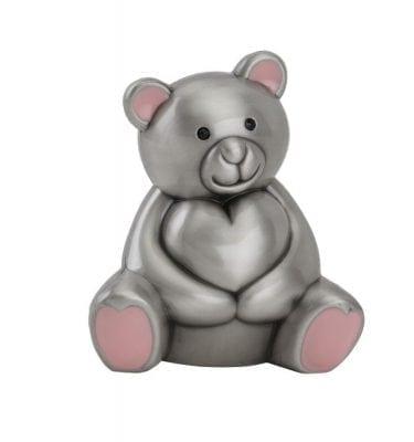 Sparebøsse bamse med hjerte og lyserøde detaljer