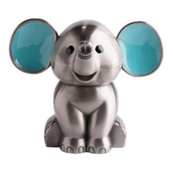 Sparebøsse elefant fortinnet med blå ører