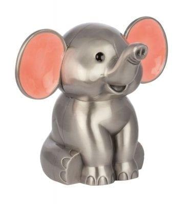 Sparebøsse Elefant fortinnet med pink ører