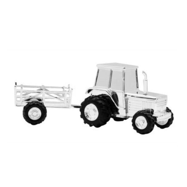 Sparebøsse traktor med vogn i forkromet overflade, fra Nordahl Andersen