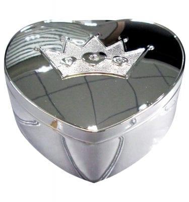 Forkromet smykkeskrin hjerte med krone fra Nordahl Andersen