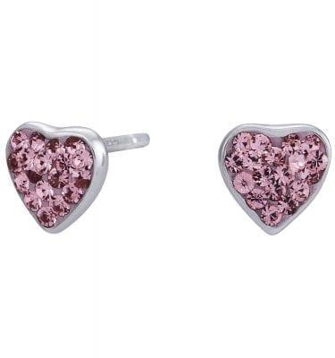Rhd. sølv ørestikker hjerte med pink, 6 mm fra Nordahl Andersen