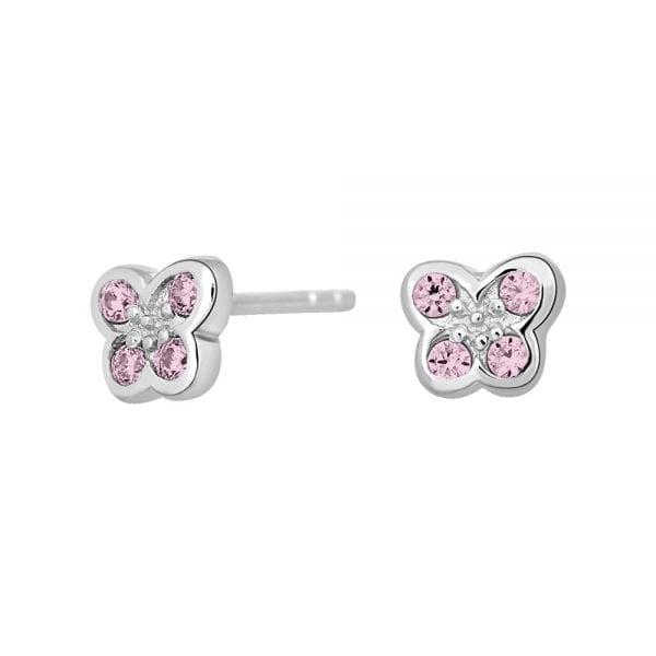 Rhd. sølv øreringe sommerfugl med pink sten, fra Nordahl Andersen