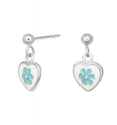 Rhd. sølv ørehænger med emalje hjerte og blå blomst fra Nordahl Andersen