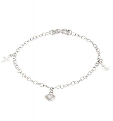 Rhd. sølv armbånd m. tro, håb og kærlighed fra Nordahl Andersen