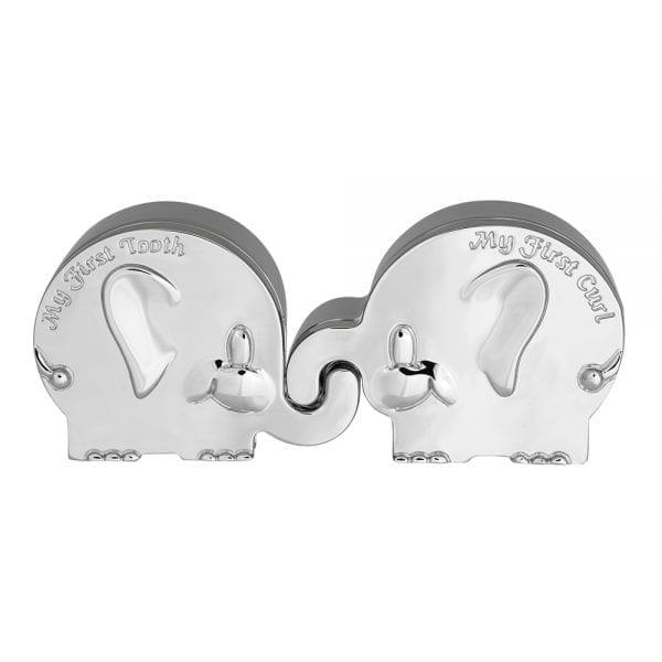 Forkromet æske min første tand/hårlok elefant fra Nordahl Andersen