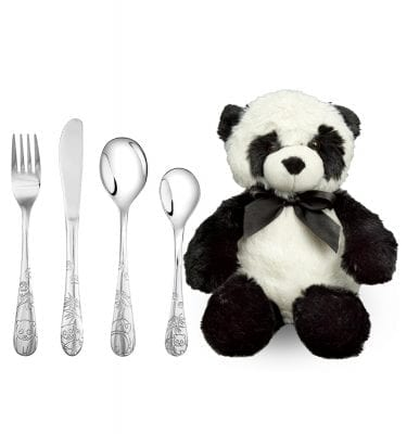Bestik med panda inkl. bamse